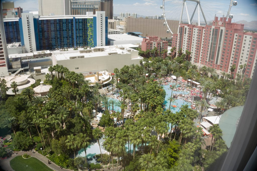 The view from one of the hotel rooms at the Flamingo.