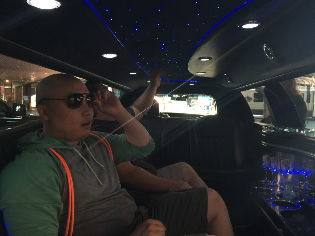 In the limo, headed to the Flamingo from the airport!